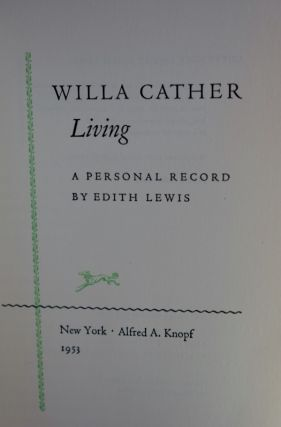 Willa Carter Living A Personal Record by Edith Lewis