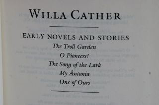 Novels & Stories. Cather / Willa